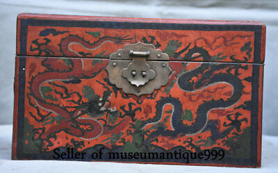 "10"" Ancient China lacquerware Wood Dynasty Palace Dragon chest bin cabinet Box"