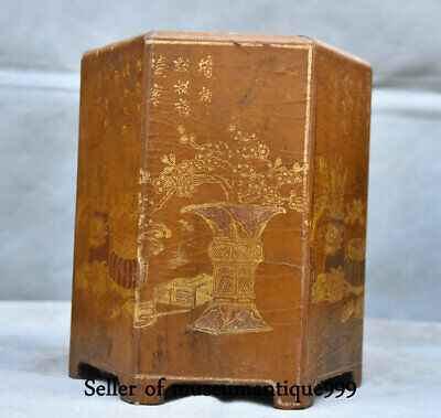 Qianlong Marked Old China lacquerware Wood Dynasty Flower Brush Pot Pencil Vase