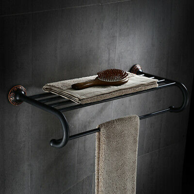 Classic Solid Brass Wall-Mount Antique Black Towel Rack Shelf with Towel Bar