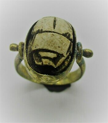 Ancient Egyptian Faience Scarab Bead In A Gold Gilt Swivel Ring