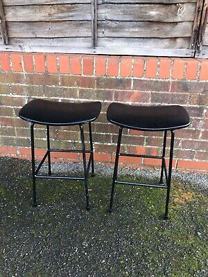 A Pair Of Frank Guille Kandya Stools. Table Height