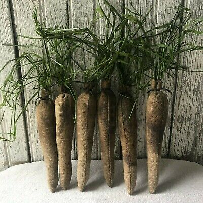 "6 Small Primitive Grungy Linen Carrots  6"" Spring Easter Basket Bowl Fillers"