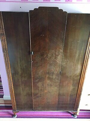 Vintage Art Deco Walnut Style Wardrobe - Very Good Condition! Amazing Features