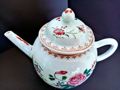CHINESE YONGZHENG TEAPOT AND COVER. ANTIQUE 18th C. FAMILLE ROSE PORCELAIN.