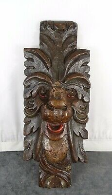 "11"" Antique French Hand Carved Oak Wood Plaque Face Figure Greenman Gothic"