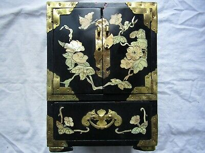 CHINESE INLAID LACQUERED JEWELLERY BOX / CABINET 4 DRAWER IN TOTAL Brass corners