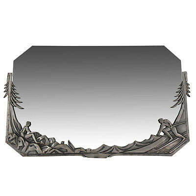 Art Deco silvered French bronze with bevelled mirror glass with skiers 1925