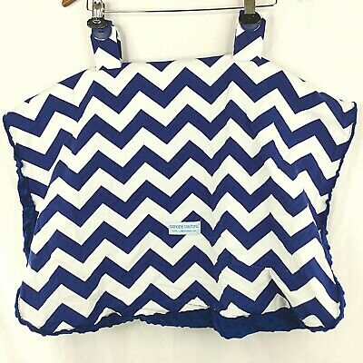 Canopy Couture Originals Jagger Carseat Cover Minky Lined Blue White Chevron
