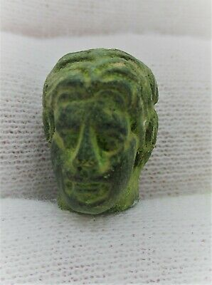 Circa 200 - 300 Ad Ancient Roman Bronze Statue Head Of A Male Detector Finds