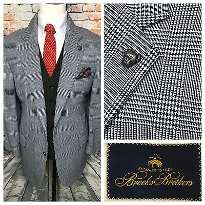 Brooks Brothers Grey Blue Glen Plaid Flannel Wool Sport Coat Jacket Mens 44 Reg