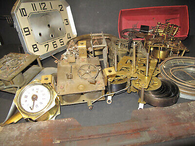 Job Lot of Antique Clock Parts - Vincenti, Newhaven, Regula - Movements, Dials +