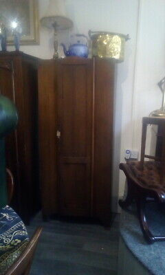 Antique Oak 1950s Wardrobe With Interior Mirror