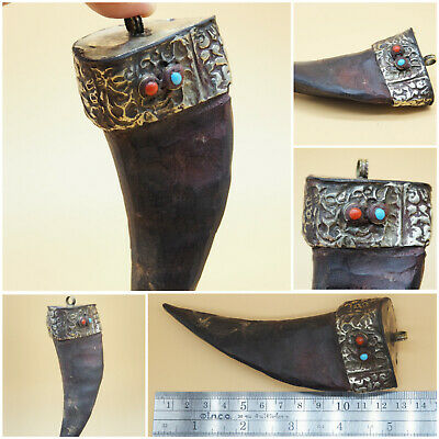 wonderful rare Tibetain unique old goodluck goat horn pendant #A478