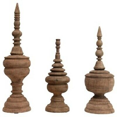 Set of 3 Carved Mango Wood Finials!!! NEW!!!