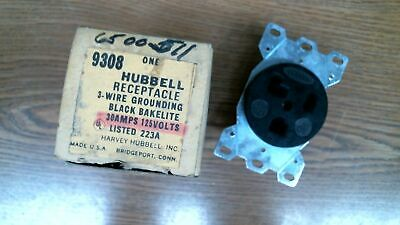 #2568 Hubbell Receptacle 3-Wire Grounding Black Bakelite 30 Amps 125 V 9308
