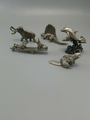 Pewter figurines lot of 5 different animals