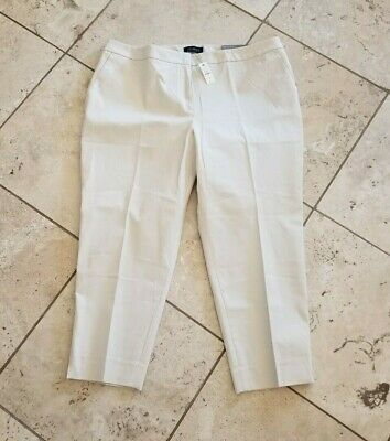 NWT Talbots Womens Petite Solid Beige Hampshire Ankle Pants Size 20WP