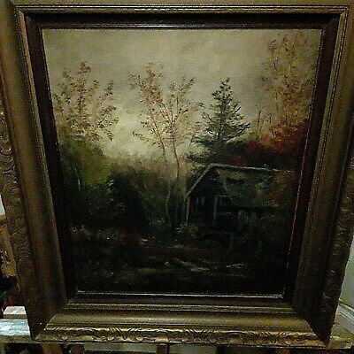 Antique Early 20th Century Nocturnal Night Landscape Oil Painting 19c Canadian