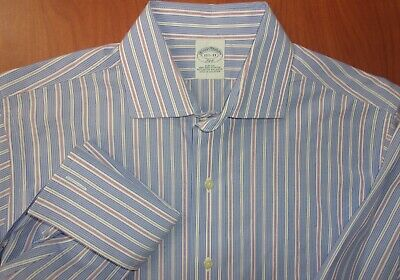 Brooks Brothers Slim Fit Non-Iron Cotton Stretch French Cuff Dress Shirt 15.5-33