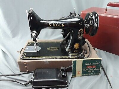 Vtg 1954 SINGER SEWING MACHINE Electric model 99K and CARRY CASE