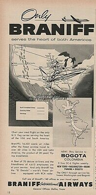 1957 Braniff Airways Vintage Airlines Flight Route Map Serving Both Americas Ad