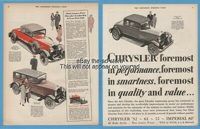 1928 Chrysler 62 Coupe Imperial 80 Convertible 72 Royal Sedan Motor Car Ad