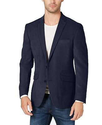 Kenneth Cole Mens Blazer Navy Blue Size 42R Ultrasuede Two-Button $295 029