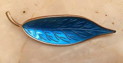MEKA DENMARK Blue Enamel Sterling Silver Leaf Brooch Pin - Excellent