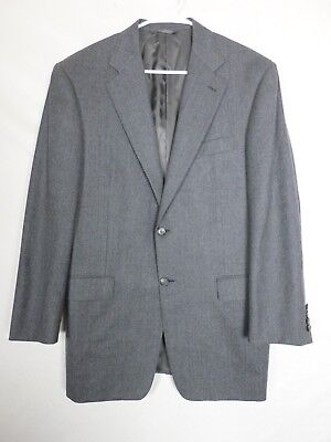Hickey Freeman Bespoke Mens Two Piece Suit Size 44 Pants 35x29 Gray Two Button