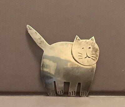 """Vtg MEXICO Sterling Silver 925 Kitty Cat Brooch SIGNED 2"""" 6.0g"""