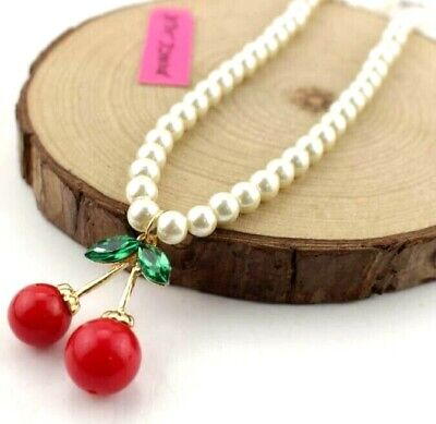Chain Betsey Johnson Fashion Jewelry Women gift Cherry Pearl Necklace Fine