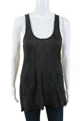 Theory Womens Silk Mirede Spotty Jersey Tank Top Black White Size Medium