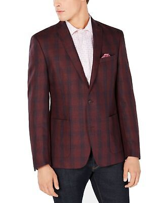 Bar III Mens Blazer Red Size 36 Short Plaid Notch-Collar Two Button $295 055