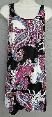 Small Secret Treasures Chemise Nightgown Black Pink Teal Paisley Womens Size 4-6