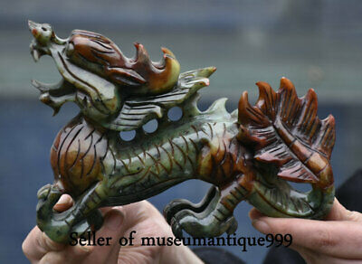 """7.2"""" Old Chinese Xiu Jade Feng Shui Carved Flying Dragon Animal Statue Sculpture"""