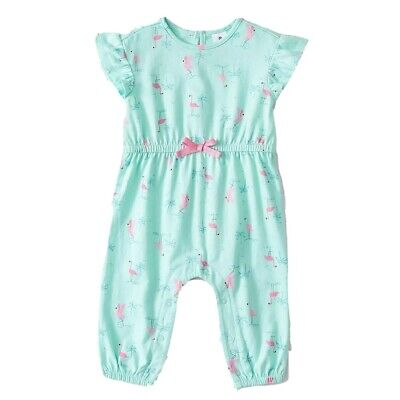 Girls size 2 Light Green Pink FLAMINGO playsuit  jumpsuit jump play suit  NEW