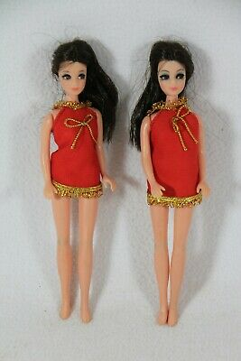 "Vintage 1970 Topper Corp 6-1/2"" Lot of 2 Dawn Angie Dolls w/ Dress Hong Kong EXC"