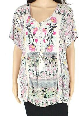 Style & Co. Women's Top White Size 1X Peasant Mixed-Print Embroidered $49 093