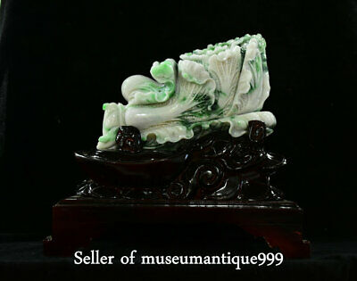 """13.2"""" Chinese emerald jadeite Green Jade Carved Feng Shui Baicai cabbage Statue"""