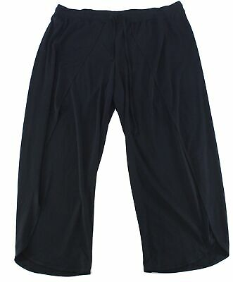 INC Womens Pants Black Size 3X Plus Wide Leg Overlay Pull On Stretch $79 225