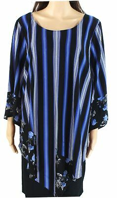 Alfani Womens Blouse Blue Size 3X Plus Striped Pointed-Hem Floral Tunic $75 234