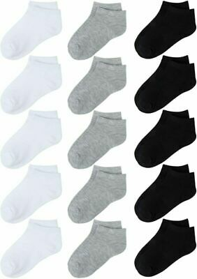 Cooraby 15 Pack Kids' Half Cushion Low Cut Athletic Ankle Socks Boys Girls Ankle