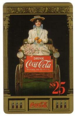 Coke National '96 $25. Lady In Carriage Coke Ad (Card #4 of 10) GOLD Phone Card
