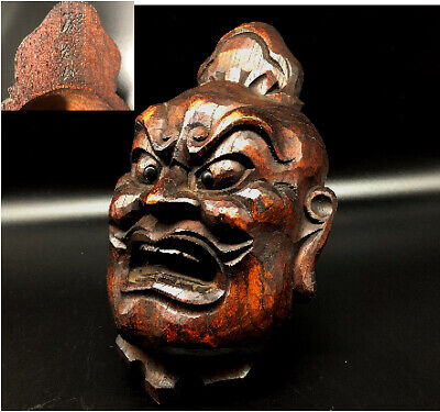Japanese old vintage wooden mask signed /Antique demon hannya omen oni noh asian