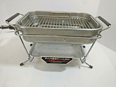 Vintage Small Farberware Model 441 Open Hearth Indoor Electric Broiler Grill