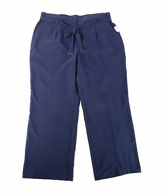 JM Collection Womens Pants Navy Blue Size 20W Plus Belted Stretch $65 008