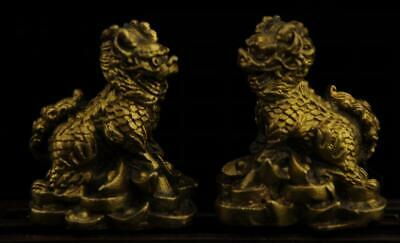 Pair China old antique hand made brass Kylin statue collect a02