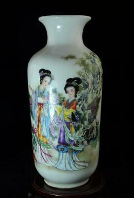 china old hand-made pastel porcelain two women vase /yongzheng mark c02