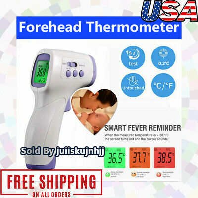 Non Contact Digital IR Infrared Forehead Thermometer Gun Adult Body Temperature/