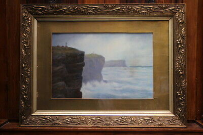 "Large antique painting ""Entrance to Sydney Heads"" Macquarie lighthouse signed"